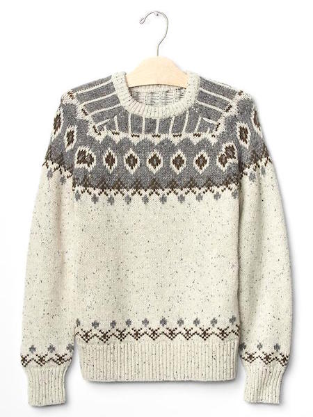 GAP Nepped fair isle raglan sweater