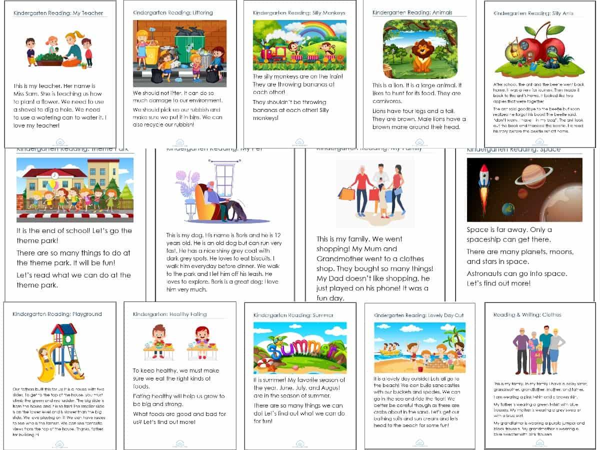 Kindergarten Reading Worksheets Bundle