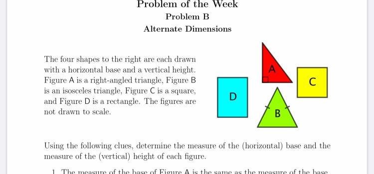 Alternate Dimensions   UWaterloo POTW   May 7, 2020