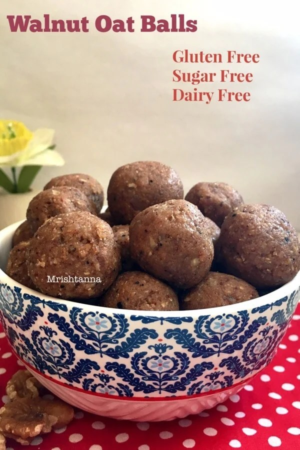 Walnut Oatmeal Energy Balls-Laddu