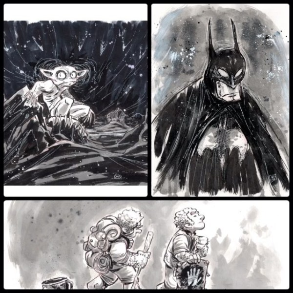 Closeups and finals from this weekend: gollum, batman, frodo and sam. For a limited time I've lowered my commission prices. $25 BW; $50 some color (livestream) http://rndm.us/jms # # Drawn using @artemscribendi's awesome pen holder and @pentelofamerica # #