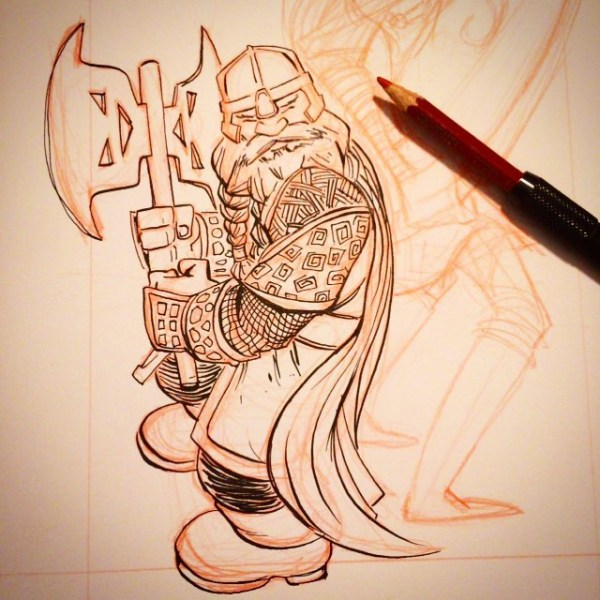 Gimli Progress: For a limited time I've lowered my commission prices. $25 BW (2 spots left); $50 some color http://rndm.us/jms # # Drawn using @artemscribendi's awesome pen holder # #