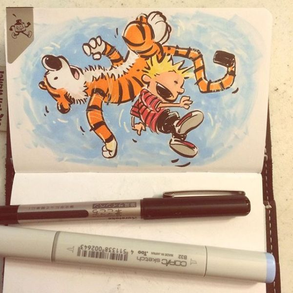 I don't think that Waterson guy likes us, Hobbes. Oh? Nope. As often as he's hurled us through the air he couldn't. 30 years ago today. @sketchwallet