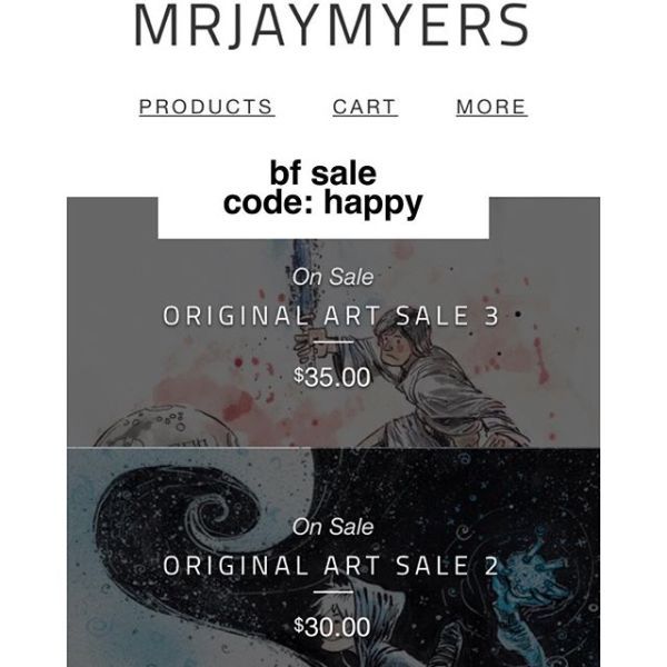 HAPPY SPENDY DAY! ORIGINAL ART as low as 30$ use the code: HAPPY and get $5 more off! (All art has free shipping in the US.) http://rndm.us/jms (link also in bio)