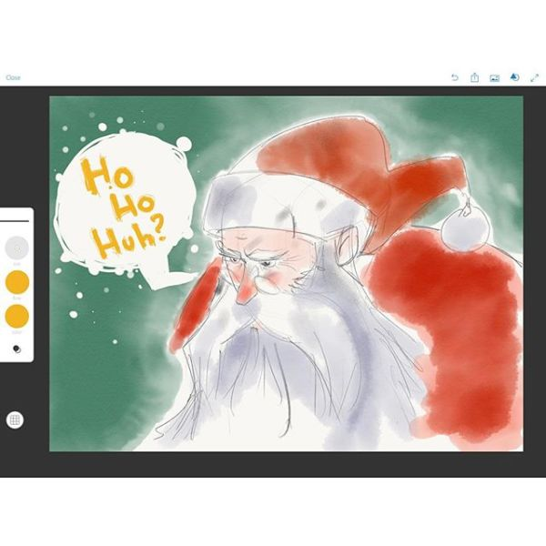 Ho Ho huh? Christmas is over. What's a Klaas to do? Hunt Dragons. That's what. Drawn with Adobe Sketch on iPad Pro using Apple pencil.