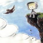 Fan art of Jake Parker's Sparrow and Little Bot.