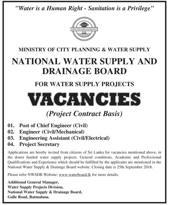 VACANCIES IN NATIONAL WATER SUPPLY AND DRAINAGE BOARD – PROJECT STAFFS