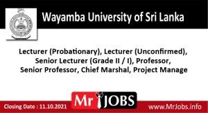 Wayamba University of Sri Lanka Vacancies