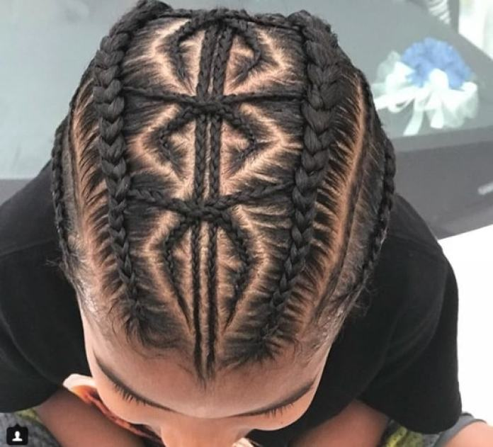 Braided Hairstyle With A Cool Design-min