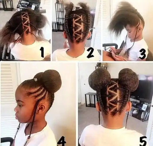 Kinky Pigtails With Cool Braided Design