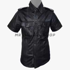 Leather Button Up Shirt Mens
