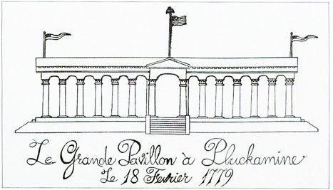 A visual representation of the facility that housed the 13 paintings for the Pluckemin celebration in 1779
