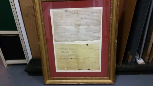The original Charter of Bedminster as it was presented in the Forbes warehouse in Long Island City.