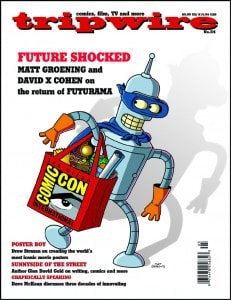 Tripwire 54 cover, Bender, Futurama, Mr. Media Interviews