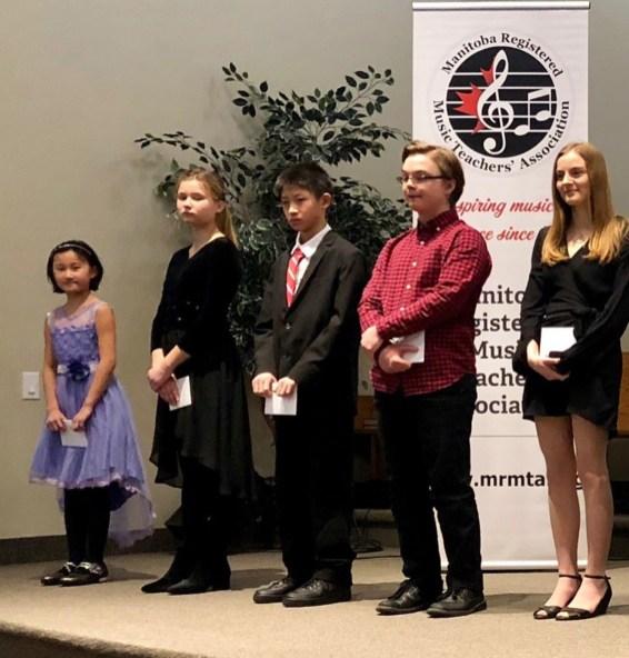 Junior and Intermediate Scholarship Winners - Victoria, Polina, Raymond, Mason, and Rowan