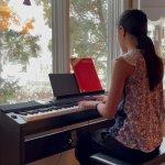 Katherine playing piano at Musicthon 2021