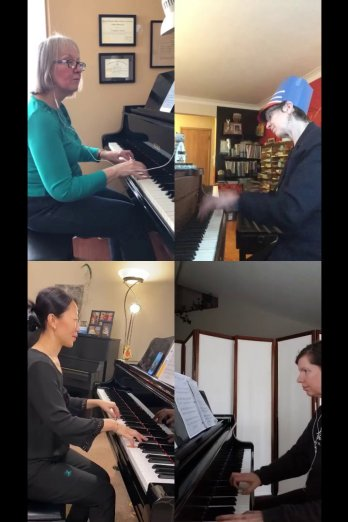 Musicthon 2021 – Teacher quartet with Evangeline Keeley, Leanne Hiebert, Laura Liu and Dianne Norris