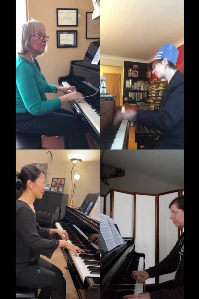 Musicthon 2021 – Teacher quartet with Evangeline Keeley, Leanne Hiebert, Laura Liu and Dianne Norris