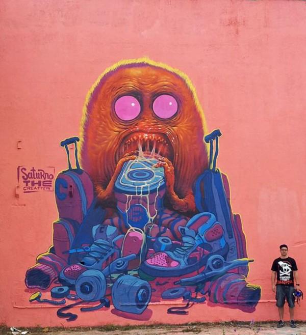 Saturno Ags, imaginative street art, graffiti art, street artists, urban murals, urban art, mr pilgrim art.