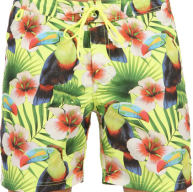 Sundek - Toucans Print Long Swim Shorts With Rainbow Bands Color Wow