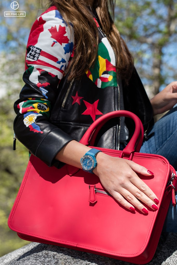 Valentino Spring2016 - Black leather jacket with flag patterns Diesel Black Gold denim Skinzies  Berluti Un Jour bag - Red leather  Hublot Big Bang Linen Ocean Blue watch