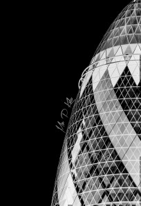 Gherkin Building inverse black and white photograph