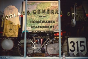 Vintage items on display in the shop front of the Pedlars General Store in Notting Hill London