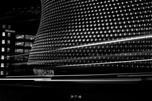 Black and white long exposure image of the Selfridges building in Birmingham by Mr P Kalu