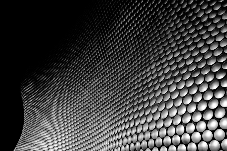 Black and white image of the Selfridges Birmingham