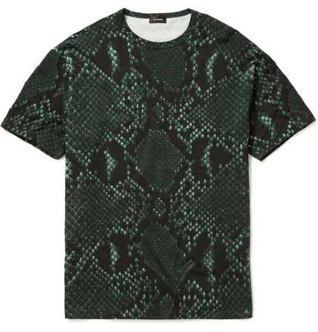 Jil Sander Python Print Cotton-Blend T-Shirt