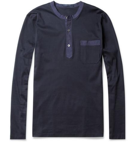 LanvinSatin-Trimmed Long-Sleeved Henley T-Shirt