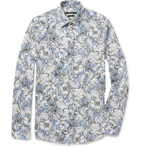 GucciFlower-Print Slim-Fit Lightweight Cotton Shirt