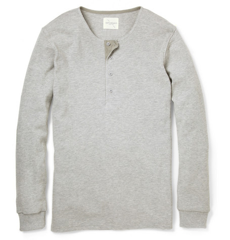 Saturdays Surf NYCMitch Long-Sleeved Cotton Henley T-Shirt