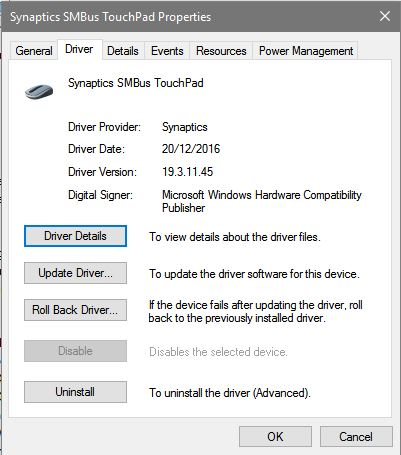 updating touchpad drivers