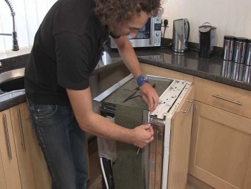 how to replace an integrated dishwasher door
