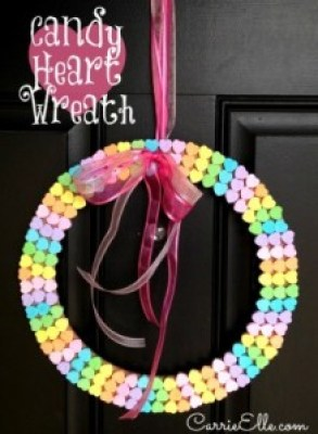 Cute, Inexpensive, Kid Friendly Craft - Candy Heart Wreath by Carrie Elle