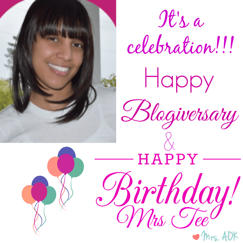 Happy Birthday + Blogiversary Mrs. Tee Celebration and Giveaway