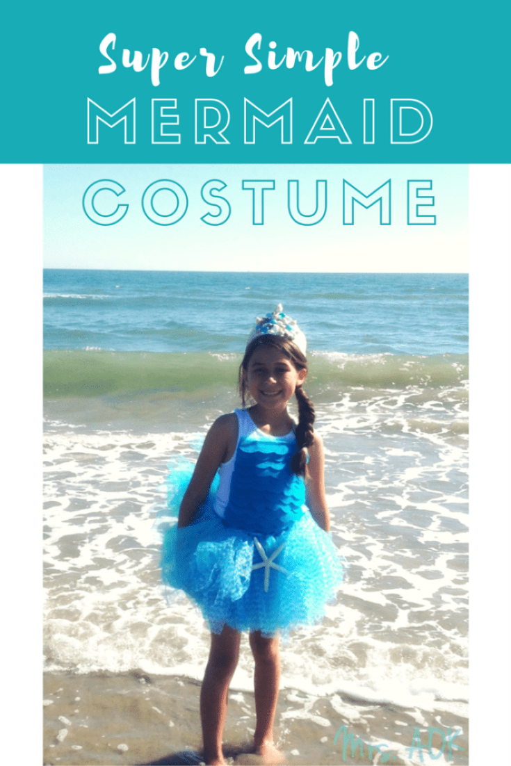 My daughter loves all things mermaid, so of course when she had to do a book project dressing up as a character in a book she chose to dress up as a mermaid. She was inspired by the book Fancy Nancy and the Mermaid Ballet. We made this super simple DIY NO SEW costume in time. Get your hot glue ready!!