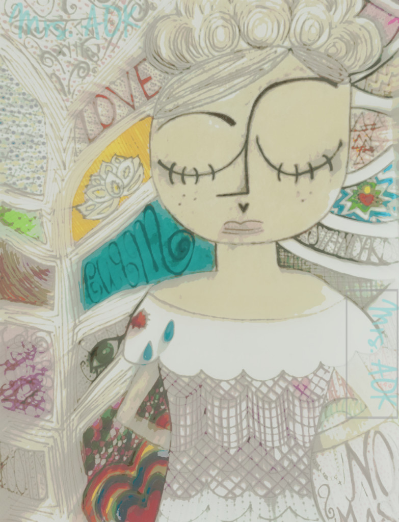 Art journal page: girl with the heart on her sleeve