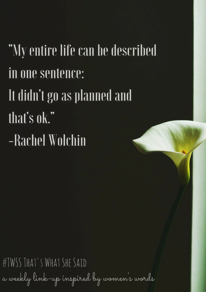 My entire life can be described in one sentence: It didn't go as planned and that's ok.|Rachel Wolchin| Describe your life in one sentence| Writing Prompt| Link-up| TWSS a link-up inspired by women's words| quote