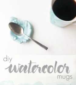 DIY Watercolor Mugs