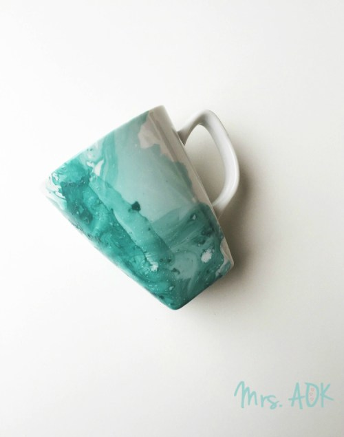 Dress up your white mugs with this simple DIY. You probably have all the supplies needed to make this quick and easy DIY Watercolor Mugs TODAY!