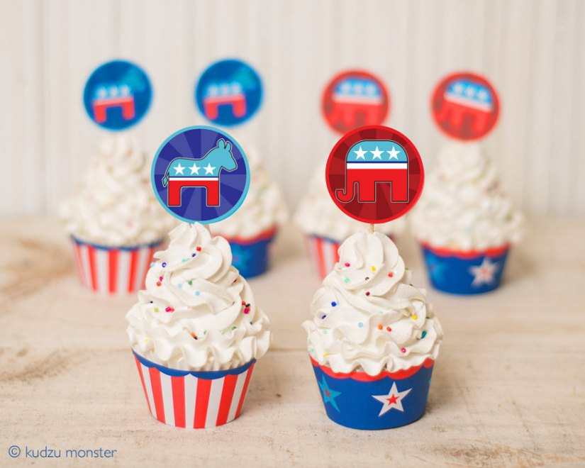 Throw an election day party with these handmade goodies. Kudzu Monster Printable cupcake wrappers and toppers.