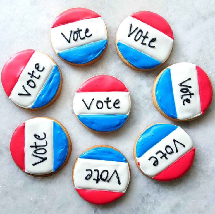 Throw a bipartisan election day party! Vote Cookies via Merci Bakery on Etsy.