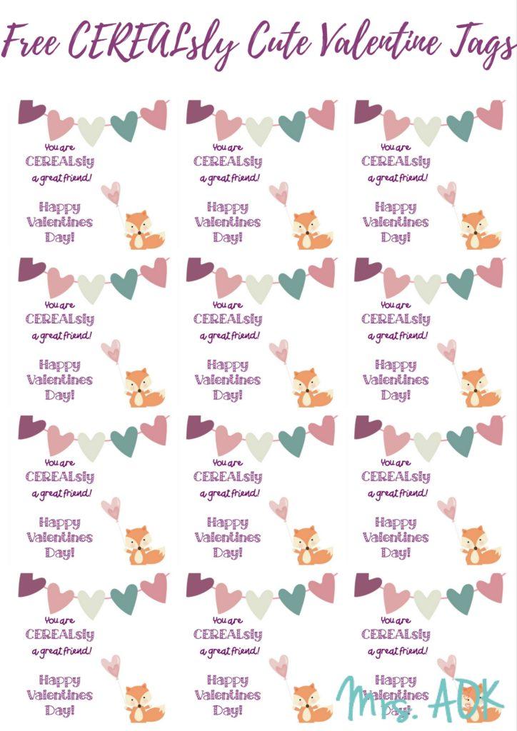 FREE CEREALsly Cute Valentine Tag Printables via @Mrs_AOK