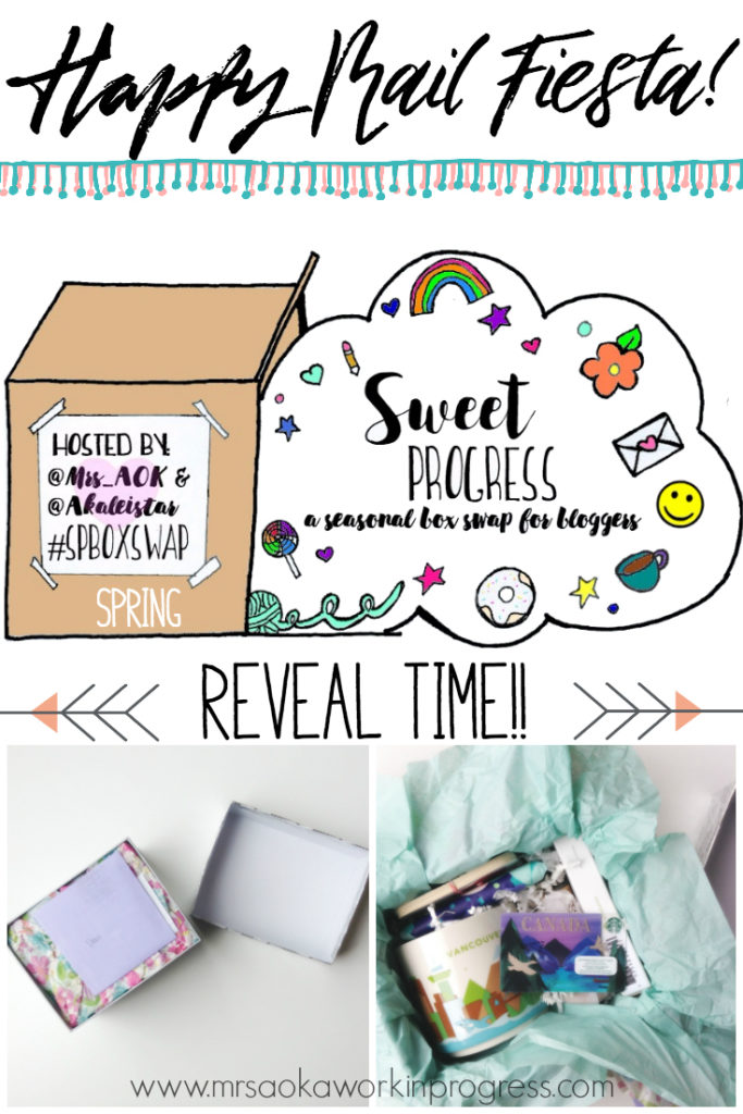 It's a Happy Mail Fiesta!! Come check out what the Spring Sweet Progress Box Swap Reveals. Did you miss the spring swap? You can sign up for the summer swap here. :)