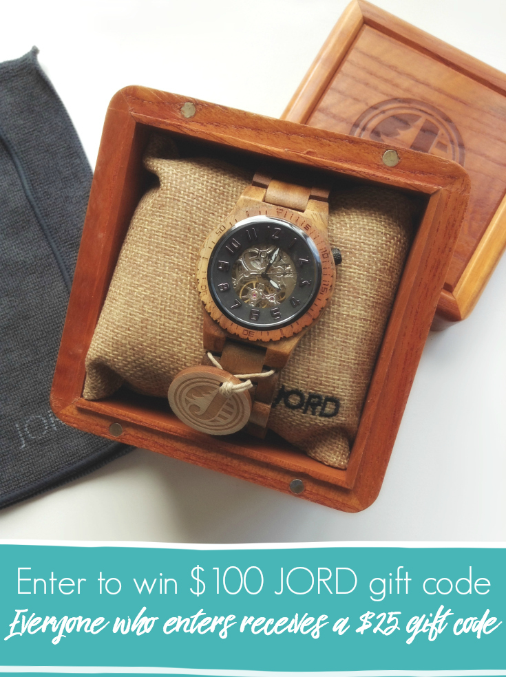 Enter to win $100 gift code from JORD. Unique wooden watches for Men and Women. Everyone who enters receives a $25 gift code. :) GIVEAWAY / Wood Watches / Men's Watches / Women's Watches