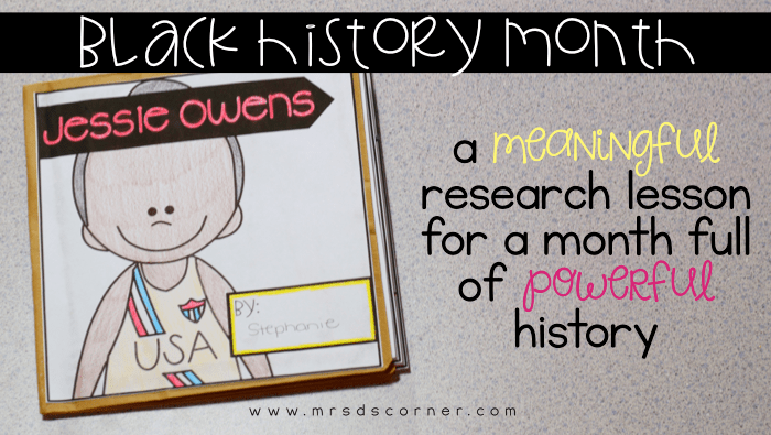 A meaningful research lesson for a month full of powerful history. Elementary black history month research project and craftivity. Blog post at Mrs. D's Corner