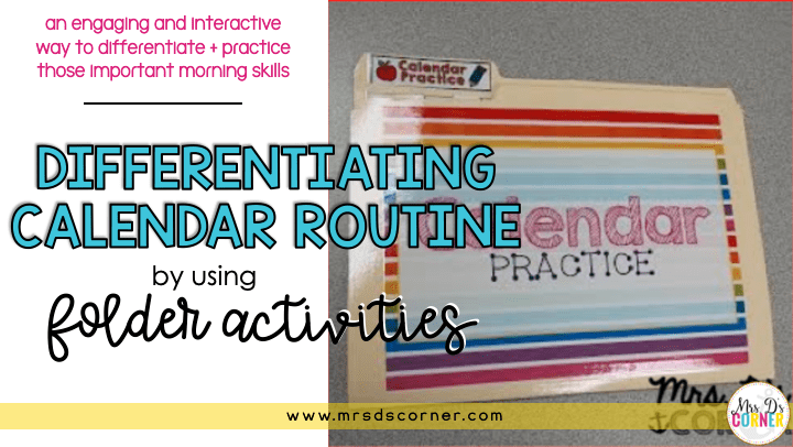 Calendar Folder Activities for Special Ed