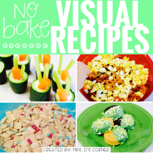 Encourage language development, while fostering fine motor skills, following directions and other functional life skills. Cooking in the classroom with visual recipes with REAL pictures. Visual recipes to cook with your students in the classroom, step by step real images to foster those super important life skills, and work on those IEP goals and objectives... all at the same time! Cooking in the classroom blog post at Mrs. D's Corner.